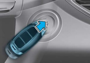 Press the Hyundai i30 engine start/stop button with the smart key