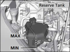 Top up the Honda CR-V reserve tank with coolant until it reaches the MAX mark