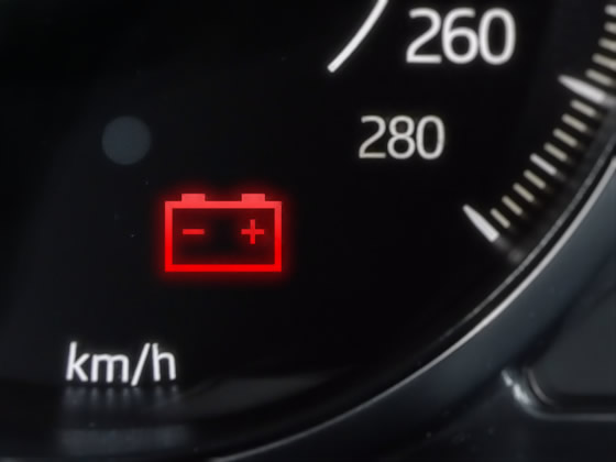 Why is the car battery warning light on?